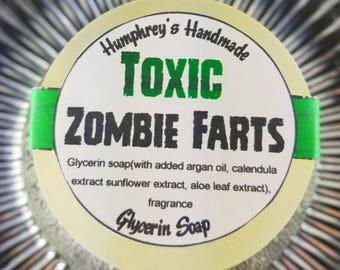 TOXIC ZOMBIE FARTS soap, Glow in the Dark Vanilla Shave Soap, Round Green Puck, Warm Vanilla Scent, Zombie Soap, Horror, Undead, Scary Funny