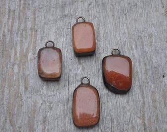 Rectangle Soldered River Stone Pendant // Orange Pendant // Stone Pendant// Charm