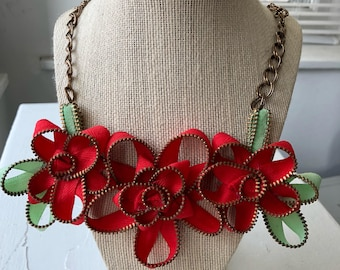 Bright Red Vintage Zipper Flower Necklace