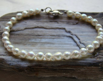 Baroque Cultured Akoya Pearl and Sterling Silver Strung Bracelet