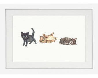 Three Little Kittens - Giclée Watercolor Print