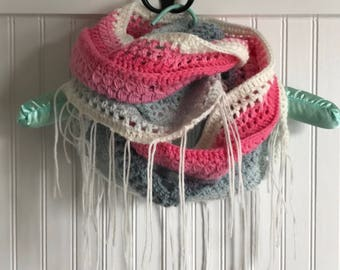 Handmade crocheted infinity scarf.