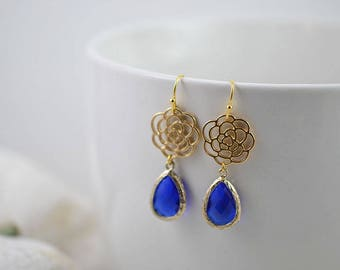 Dark Blue Flower Gold Chandelier Earrings, Gold Bridesmaids Sapphire Earrings, Blue Drop Earrings, Gold Jewellery, Something Blue Jewelry
