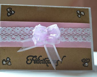 Card congratulations MariageTrios with pink and white ribbons