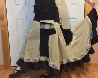 Steampunk Boho Maxi Skirt//Long Corduroy Skirt//Bustle Skirt//Hippie Gypsy//Upcycled Recycled Repurposed//Women's Plus Size Skirts XL-1X