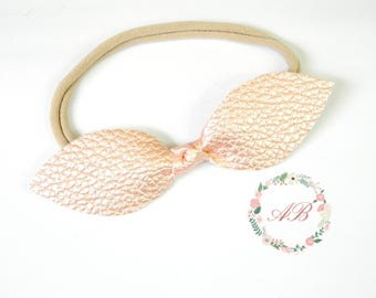 Baby Top Knot Headband -  Leather Knot Headband - Baby Knot Bow Headband - Rose Gold Knot Headband - Nylon Headband -Girls Top Knot Headband