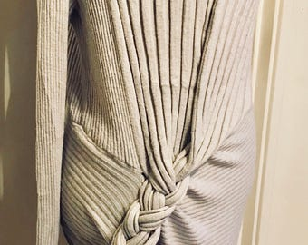 Light grey fine knit wrap around jumper dress with plaited detailing