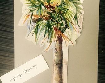 Palmier découpé aquarelle par Kristy Edwards