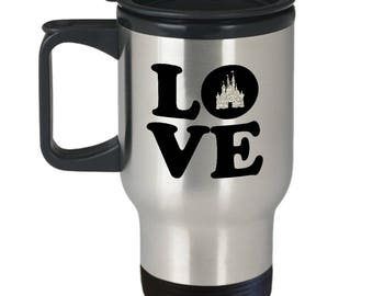 Love Magic Castle Mouse Travel Mug Gift Fan Fanatic Magical Coffee Cup
