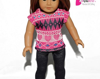 18 inch doll clothes made to fit like american girl doll clothes, hearts/diamonds top and stretch denim leggings