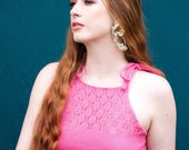 Acacia Cotton Lace Top - Pink - Handmade by Alice