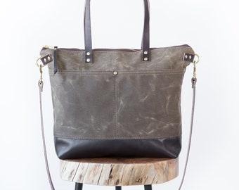 Waxed Canvas Sawyer Bag, Dark Oak, Waxed Canvas tote, computer bag, work bag, Leather, diaper bag, travel bag, crossbody bag, zipper bag