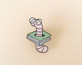 Bookworm enamel pin