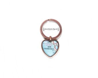 San Francisco Heart Keychain Map Location in Antique Copper