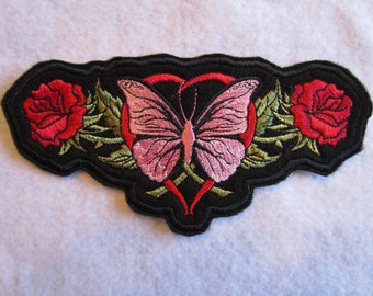 Embroidered Rose, Heart And Butterfly Iron On Patch, Butterfly Patch, Biker Patch, Biker, Biker chick, Rose Patch, Heart Patch