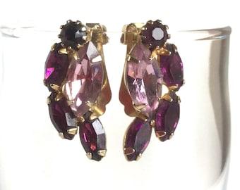 Vintage Purple Rhinestone Earrings - Deep Purple Amethyst Pale Lavender Glass Stones in Gold Setting - Clip On Earrings - Navette Marquise