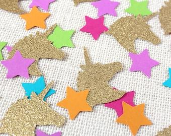 Unicorn and Stars Glitter Confetti - 80 pieces - Table confetti, Party Decorations