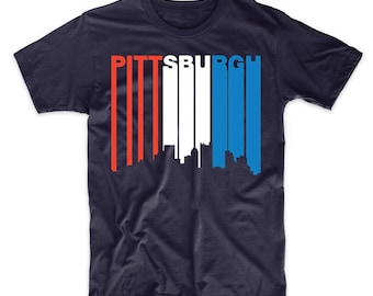 Retro Style Red White And Blue Pittsburgh Pennsylvania Skyline T-Shirt by Really Awesome Shirts