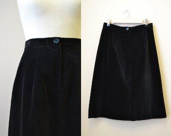 1970s Lanvin Black Velveteen Skirt