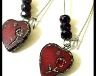 Engraved Blood Red Hearts Long Earrings, Czech Glass