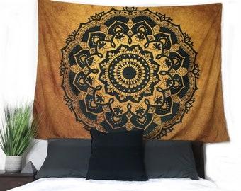 New Bronze and Black Mandala Wall Hanging Tapestry, Boho, hippie, wall hanging tapestry, LARGE 80x60 inches