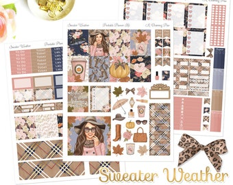 Sweater Weather - Printable Planner Stickers - Instant Download