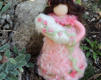 """Mother and Child -""""My Sweet Love""""  Waldorf-inspired needle felted standing doll soft sculpture"""