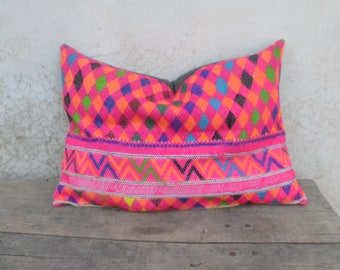 indian antique french cushions. Bohemian Cushion Pillow Cover, Pink, Hmong, Banjara, Indian Vintage, Ethnic, Antique French Cushions