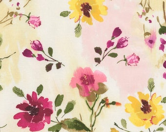 1/2 Yard Timeless Treasures Muse Tossed Watercolor Floral C5796 designed by Alice Kennedy