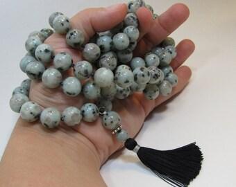 Ready to ship mala - 108 beads prayer tassel necklace - Hand knotted 12mm sesame jasper 108 beads mala - yoga - meditation - japa mala