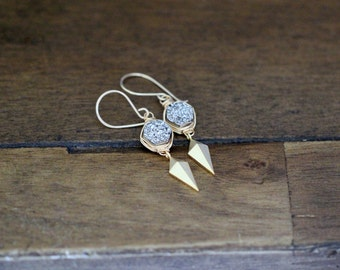Druzy Dangle Earrings, Silver Druzy Hexagon Drop Boho Earrings , Gold Druzy Earrings , Modern Druzy Fashion  - Stiletto