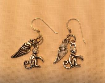 Flying OZ monkey earrings
