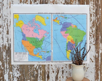 Vintage US World School Map - Large United States Nystrom Latin America Canvas Pulldown