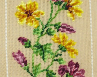 Yellow and Purple Flowers Preworked Needlepoint Canvas, Floral Runner or Tapestry, DIY Needlepoint Flowers