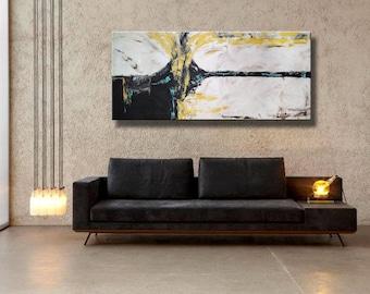 """72 x 32"""" Original abstracto acrílico pintura Extra grande amarillo negro gris blanco mostaza Mocca en arte de la pared de lona"""