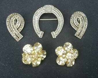STERLING Silver Vintage Marked Rhinestone Brooch & Earrings Horseshoe Flower Design