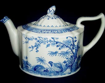FURNIVALS Quail Teapot w/ Lid - Blue, Round Backstamp