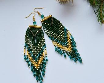 Long Boho Earrings Christmas gifts for mom Statement earrings Green earrings Fringe earrings Tassel earrings Beaded earrings Chandelier