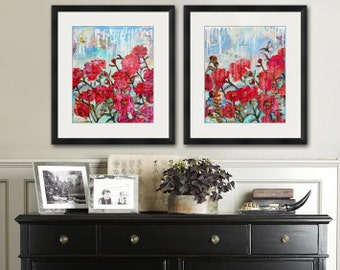 floral PRINT | flower art | rose art | rose paintings | floral art | flower watercolor | red pink blue modern contemporary mixed media art