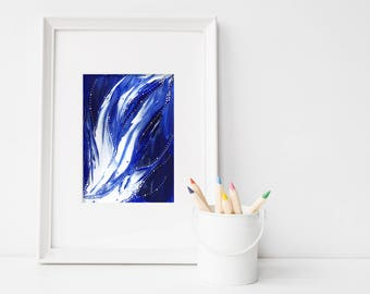 Riptide #2, 5x7, 8x10, original art, original painting, abstract art, abstract painting, blue and white art, ocean art, wall decor