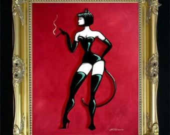 Curvy Cat Women, Catwoman Art Print, Sexy Illustration, bdsm Fetish, Gift for Men, Bedroom Home Decor, Wall Hanging, Leather Corset, SHANO