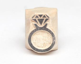 diamond ring stamp, wooden stamp, hand carved