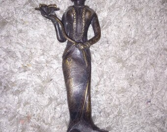 Bronze Indian statue, lotus flower