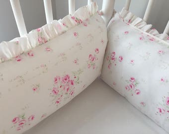 Shabby Sweet Nursery Baby Girl Crib Bedding Faded Pink Bouquet Crib Set Includes Crib Bumpers, Sheet and Ruffled Skirt