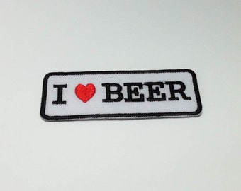 I Love Beer Iron on  Patch (M1) - Text - Words - Message Iron On Patch Embroidered Applique Size 7.4x 2.6 cm