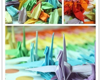"""500 Paper Cranes Crafts Customized for Wedding Birthday Christmas Decoration Origami Paper Goods Handmade Crane --- 8 x 8cm/3"""" Mixed Color"""
