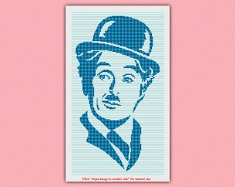 Charles Chaplin Cross Stitch Pattern - Patchwork Cross Stitch -  Modern Cross Stitch