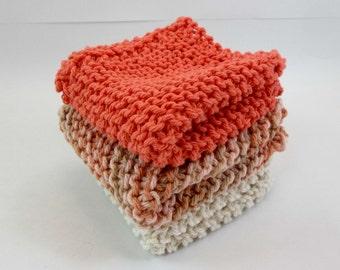 Cotton Knit Dish Cloths Cotton Wash Cloths Natural Taupe Peach Tones