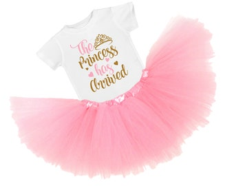 Newborn Photo Outfit Prop - Girl Coming Home Outfit -  Baby Girl Clothes - The Princess has Arrived Take Home Tutu Outfit - Baby Shower Gift