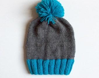 Free shipping / Boys knit hat, toddler hat, knit hat, pompom knit hat, kids knit hat, beanie, slouchy beanie knit hat custom knitted hat